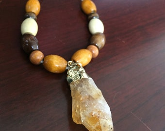 Citrine Quartz Beaded Necklace