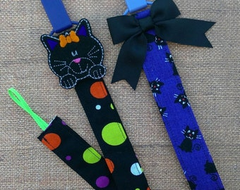Halloween Black Cat Pacifier Clips/leash