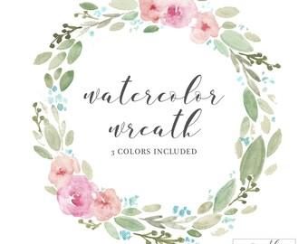 Digital Floral Wreath Clip Art | Hand Painted | Color Options | Instant Download