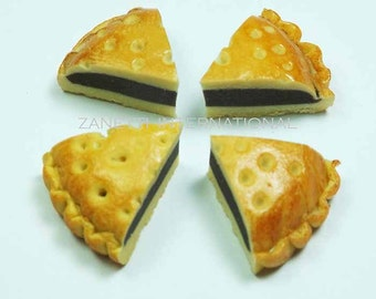 Set of 4 Dollhouse Miniature Chocolate Pie Slices - Mini Food Cake