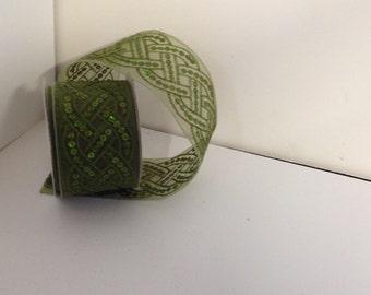 Green sequin sheer ribbon