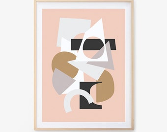Abstract Art Print, Paper Collage, Printable Wall Art, Wall Art, Nursery Art, Digital Download, Paper Art, Paper Art, Collage Print