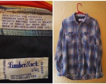 70s lumber jack vintage blue flannel size large