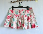Vintage 90s Floral High Waisted Hipster Skirt High Waist Pink Blue Shorts Grunge Skirt Skorts 90s Beach SkirtSummer Skirt