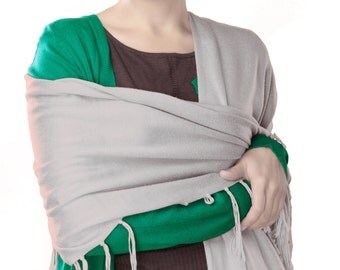 Women's Soft Scarf Solid Color Pashmina Silky Shawl Stole Wraps - Moonlight Gray