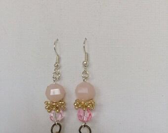 Pretty Peach and Gold Spike Drop Earrings