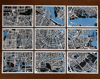 9 in 1, Amsterdam Handmade Papercut Map in 9 pieces