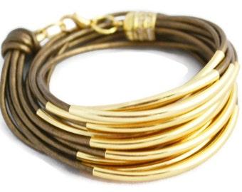 Boho Leather Wrap Bracelet for Women, Women's Leather Bracelet, Women's Leather Wrap Bracelet, Layered Bracelet, Stacking Bracelet, Cuff