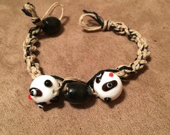Macrame Panda Hemp Bracelet