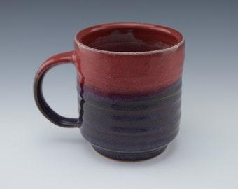 Red and Purple Ceramic Handmade Mug with handle, Wheelthrown