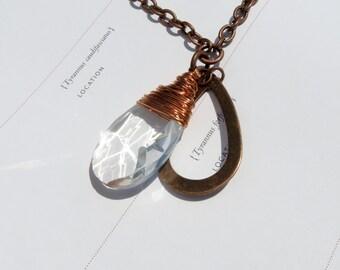 SALE Copper Wire Wrapped Vintage Teardrop Crystal Necklace // Copper Necklace // Chandelier Crystal Necklace