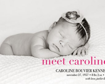 "Birth Announcement // Pink or Blue // Postcard or Card // Horizontal Vertical // 4""x6"" 5""x7"" // PDF Download"