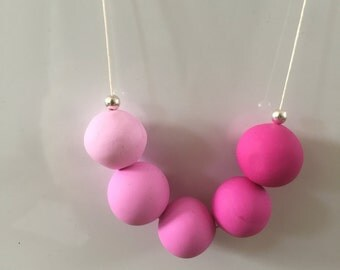 Blush Pink Polymer Clay Necklace; Polymer Clay Jewelry