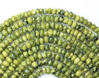 AAA+ quality gemstone  8 inch long strand faceted Rondelles Beads shape SERPENTINE 4.5 x 6 -- 4.3 x 7 mm