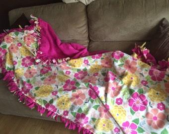 Bright Flowers Fleece Blanket