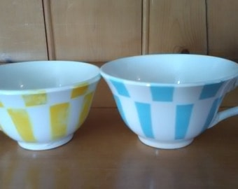 Slightly Mismatched Pair of Very Old Digoin Coffee Cups Geometric Design Yellow Blue Kitchen Décor