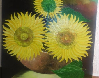 "Painting to the oil sunflowers entitled ""backwash"""