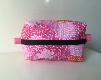 Pink Orange Floral Cosmetic Bag