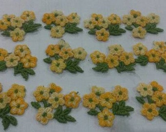 20 Small Yellow Flower Applique Flower Doll Patch Sew On with Green Leaf