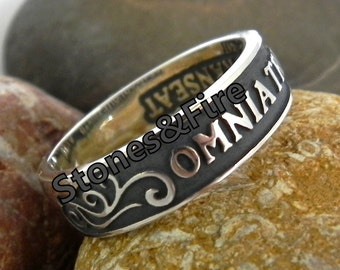 KING'S SOLOMON RING Jewel with Latin words on it Starling Silver Handcrafted