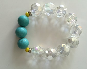 Natural turquoise and glass bracelet