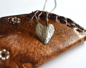 Jewelry real leaf | Silver | Leaf necklace | Heart shape | SKU: AGN03L