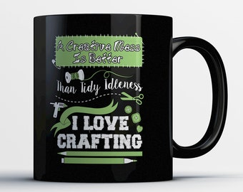 Craft Gift - Crafting Mug - Gift for Crafter - Craft Coffee Cup - Hand Crafted Mug - I Love Crafts