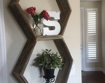 Octagon shelf in reclaimed barnwood