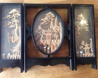 Chinese cork art, pagoda, 3 panel vintage.