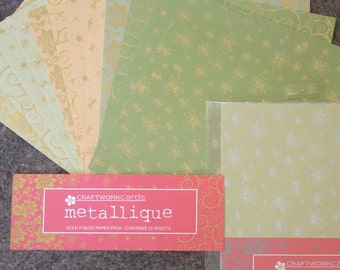 Metallique silver and gold foiled on Green twin paper pack from Craftwork Cards