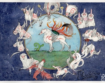 Okami Zodiac Watercolor Print