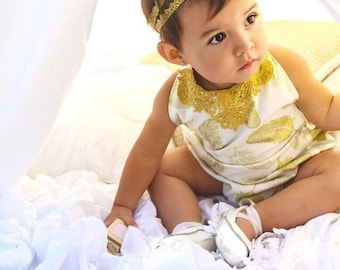 Baby romper - Gold romper - feather - sunsuit - playsuit