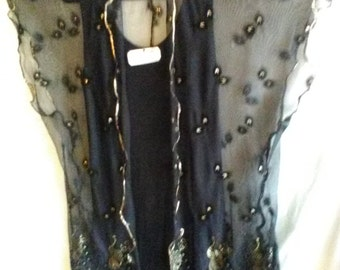 Tunic Black Gold Embroidered Stretch Mesh Evening Dressy Kimono Shawl Top L XL 1x 2x Tunic Only for Sale not Dress