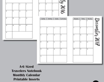 18 MONTH CALENDAR A6 Sized Travelers Notebook Insert