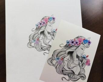 FREE print with purchase! Original Sleeping Beauty Sketch Print / Disney Gift Ideas
