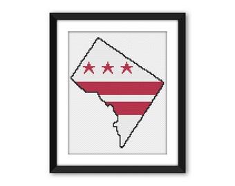 PDF - Washington DC Flag Cross Stitch Pattern