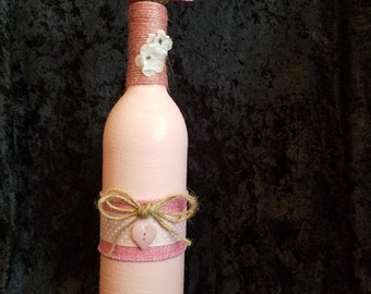 Pink Decorated Bottle Vase