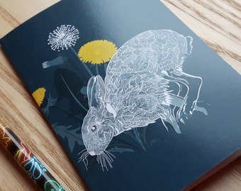 A6 Blank Notebook with Rabbit Illustration Cover