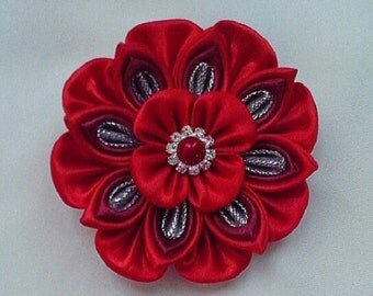 decoration on clothing brooch red flower