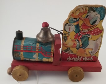 1940 Antique, Fisher price, Disney Donald Duck Pull Toy