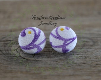 19mm Purple Swirl With Yellow Dot Fabric Button Stud Earrings
