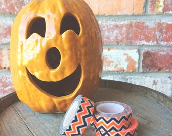 Black, Orange and White Washi Tape//Halloween Washi Tape//Chevron Washi Tape//Spooky Washi Tape//Black and Orange Washi Tape