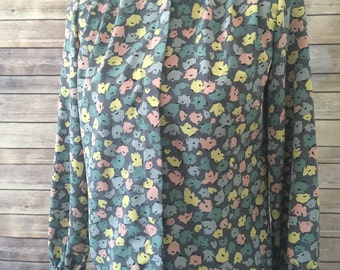 Vintage grey and pastel polyester top