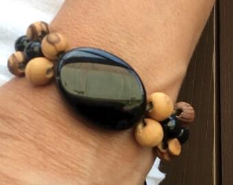 Bohemian black agate bracelet