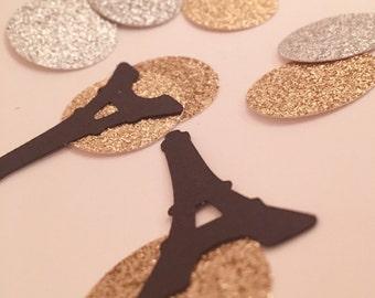 Paris Confetti, Gold Silver Confetti, Paris Bridal Shower, French Wedding, Paris Baby Shower, Eiffel Tower Confetti, Parisian Party