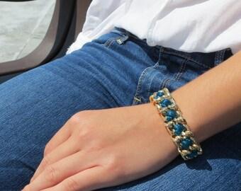 Satin Cord Gold Chain Bracelet