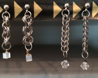Stainless Steel Chainmaille Earrings with crystals