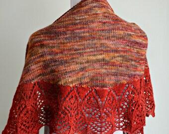 Catching Fire Lace Edge Shawl, Lace Shawl, Sport Yarn - Knitting Pattern - PDF