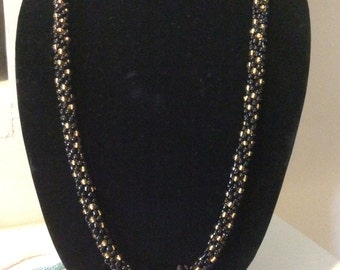 Black and Gold Kumihimo Necklace Set.