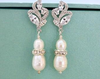 Cubic Zirconia Leaf Filigree Rhinestone Rondelles Freshwater Pearl Bridal Earrings. Pearl Drop Wedding Earrings. Bridesmaid Earrings.